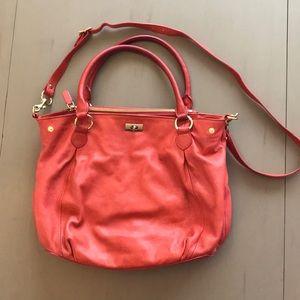 Leather j crew purse - coral